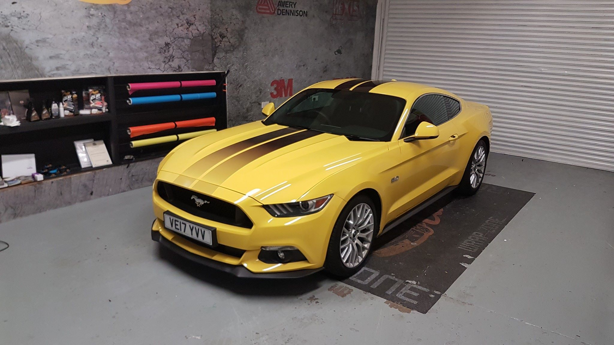 Yellow Ford Mustang Gt Custom Stripes For Bonnet Roof Lower