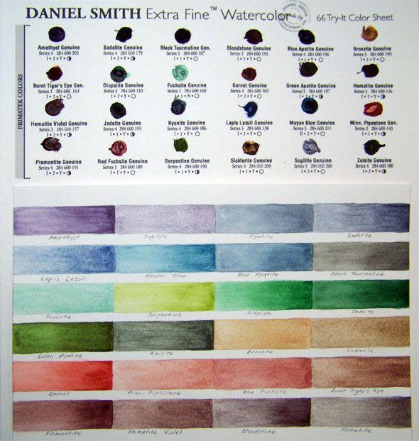 Daniel Smith Primatek Watercolor Chart Art Journal Techniques