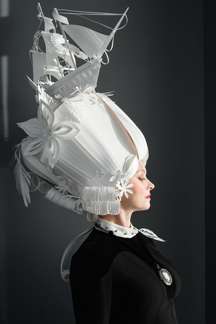 Baroque wigs made out of hand cut paper to see more art and