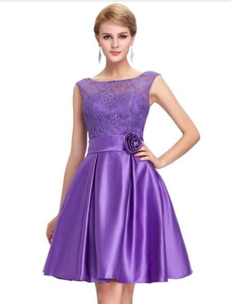 75fc8f180f4 Grace Karin Cute Short Bridesmaid Dresses Knee Length Satin Lace A-line  Charming Green Purple Blue Bridesmaid Gown CL6116