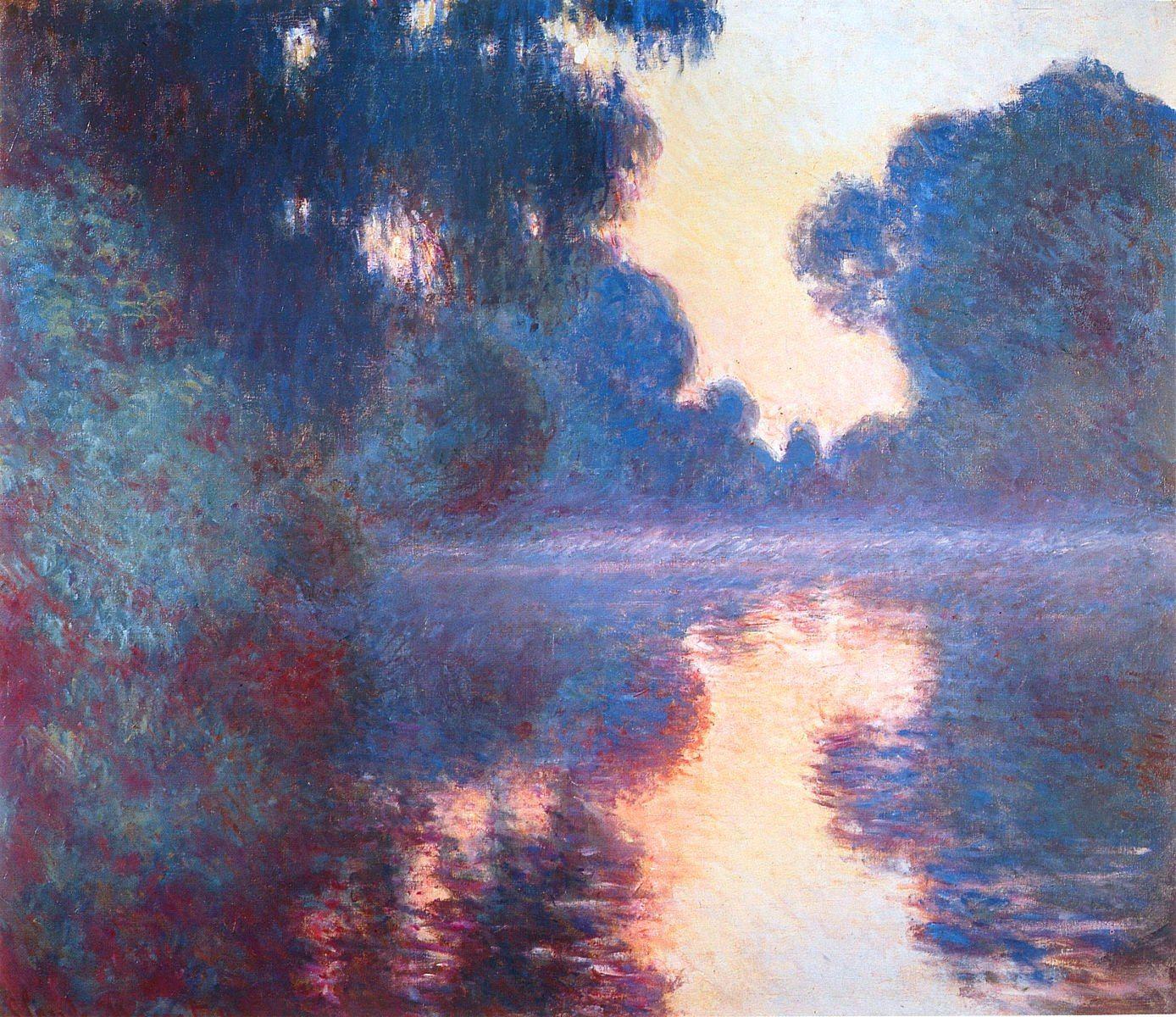 Клод Моне Туманное утро на Сене в синем