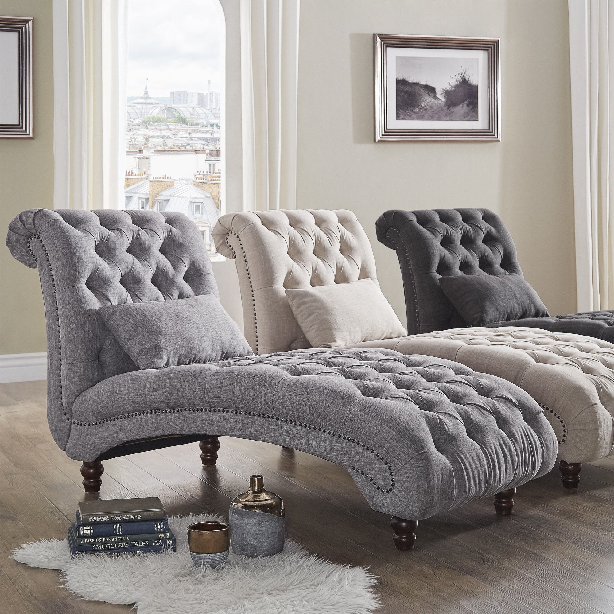 tufted oversized chaise lounge by signal hills grey linen fabric living room