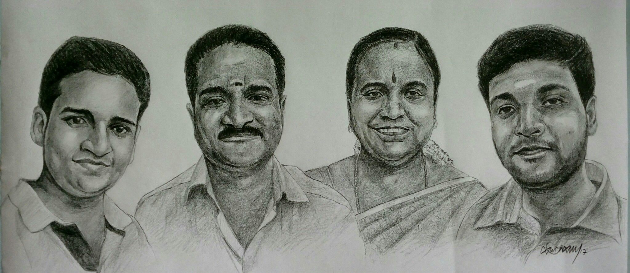 Family portraits pencil on paper oviyar sabary