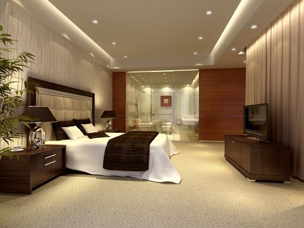 hotel room interior design scene with models of furniture and decor elements for studio max architectural visualizations - Interior Design Hotel Rooms