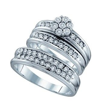 New BrianG | Micro Pave Diamond Engagement Collection 10k White Gold 0.12 Cttw Diamond Miro-pave Wedding Band Engagement Ring Trio Set