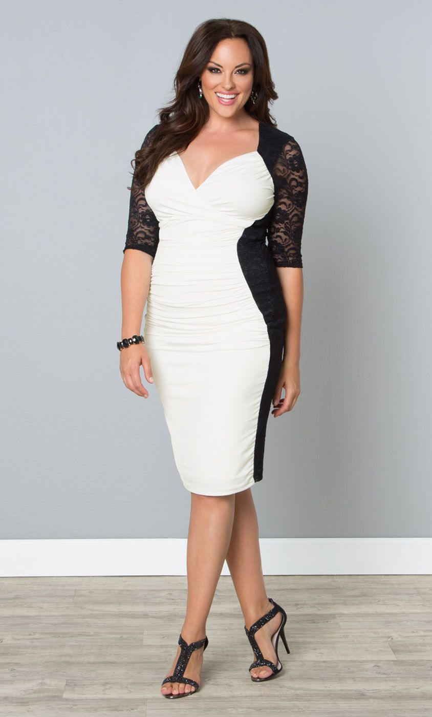a black and white bodycon dress like our plus size valentine illusion dress is - Plus Size Valentine Dresses