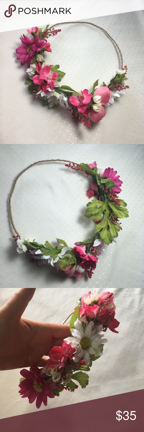 Flower Crown Festival Wedding Bohemian Pink White Gorgeous Handmade