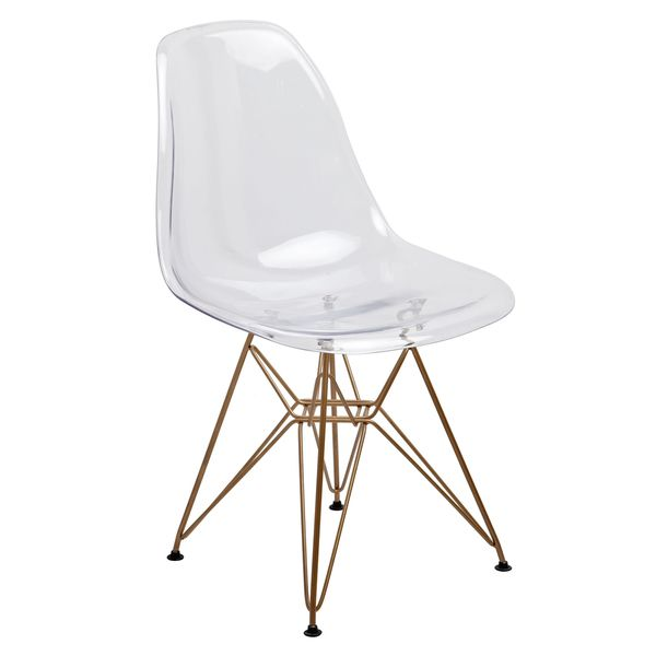 American Atelier Living Clear Seat Gold Legs Banks Chair