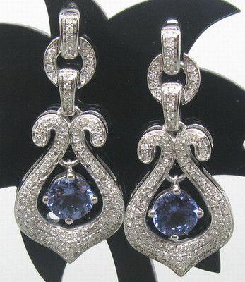 3 30ct Solid 14k White Gold Natural Diamond Blue Tanzanite Earrings E0039 | eBay