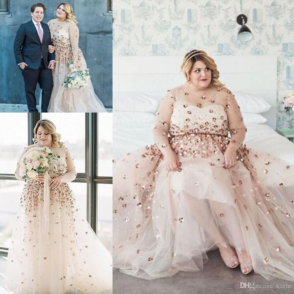 Discountplus Size Long Sleeve Wedding Dresses 2018 Modest Shiny 3d Floral Champagne Sheer Neck Country Garden Wedding Gowns Robe De Mariee From Kazte 190 96 Wedding Dress Train Sweep Train Wedding [ 1024 x 1024 Pixel ]