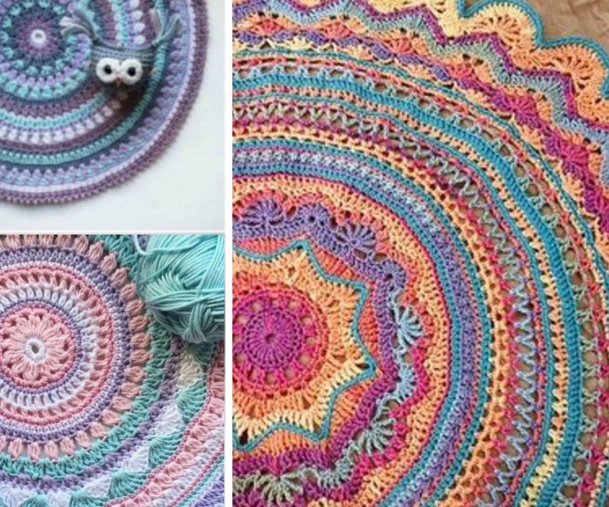 DIY Crochet Mandala Rug Artistic Patterns | Geometrie, Häkeln und ...