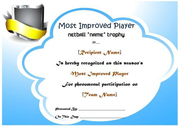 Netball Most Improved Player Award Certificate Netball