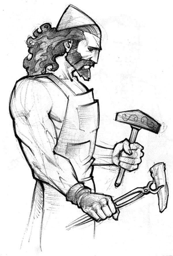 A Pencil Drawing Of Hephaestus From Greek Mythology Coloring Page