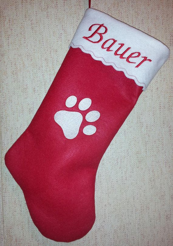 a1f215e9122 Embroidered Personalized Pet Christmas Stocking Dog Paw