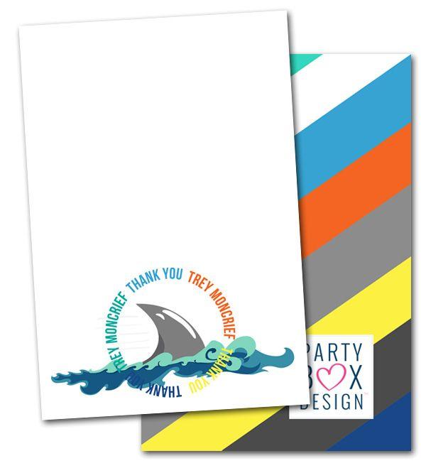 Shark Birthday Notes Shark Note Cards Shark Thank You Notes Party
