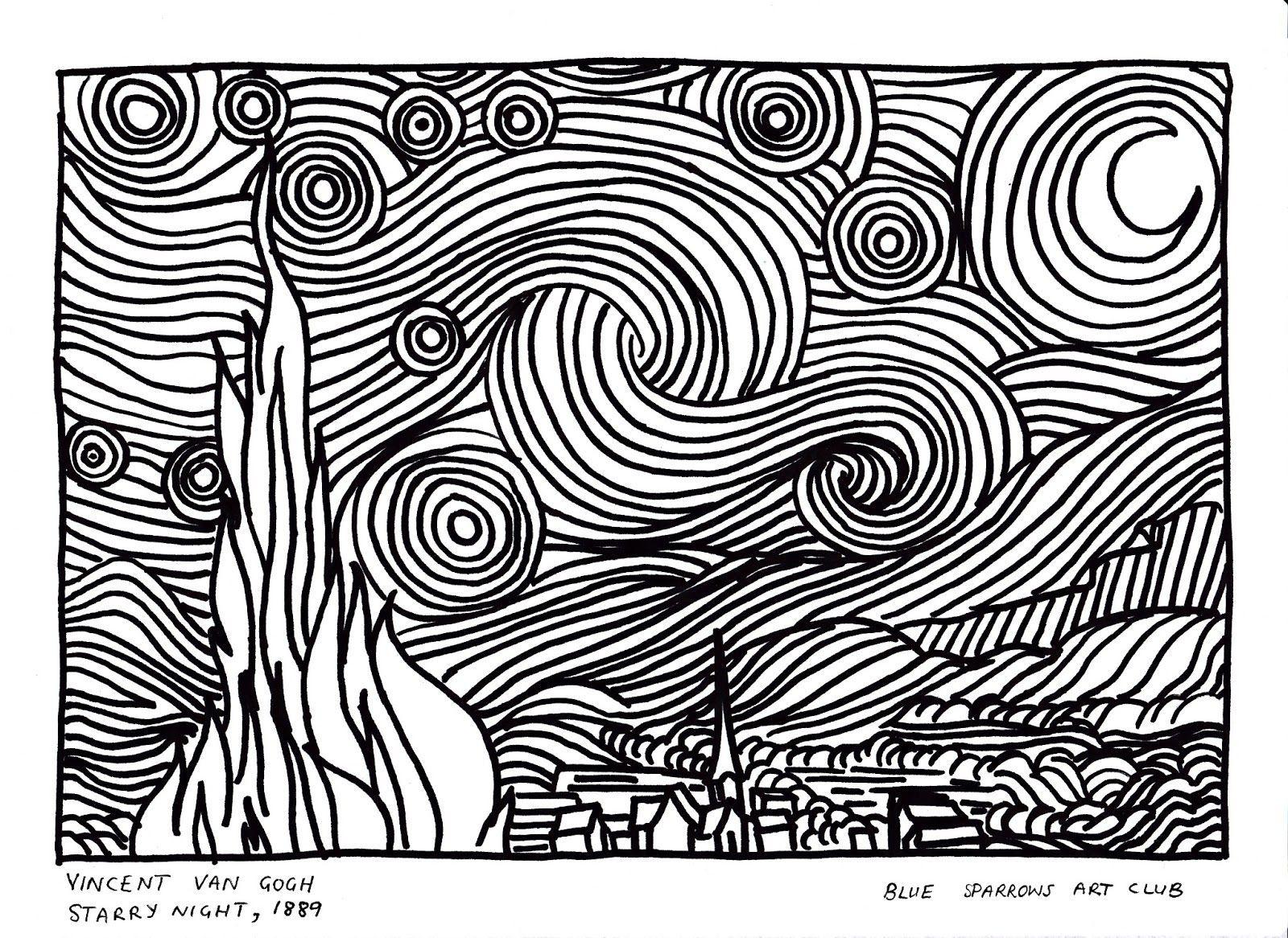 Resultado De Imagen Para Croquis Starring Night Vincent Van Gogh Notte Stellata Ricamo Disegni A Matita