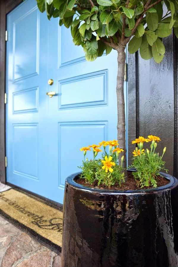 Anette Willemine Sunhome - Entrance with blue door and black house. http://anettewillemine.com/