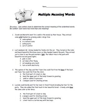 Multiple Meaning Words Worksheet. Make into triangle, word on top ...