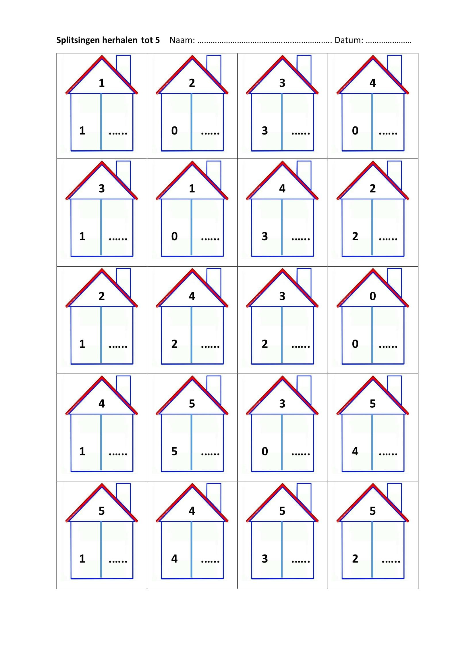 Super splitsen tot 5 | groep 3 / rekenen | Pinterest - Math, Worksheets @WH22