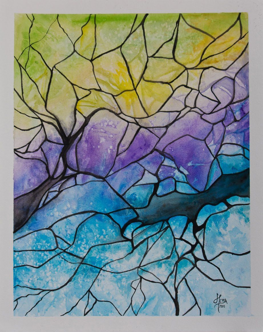 From My Canvas: Through the Cracks - Water color painting