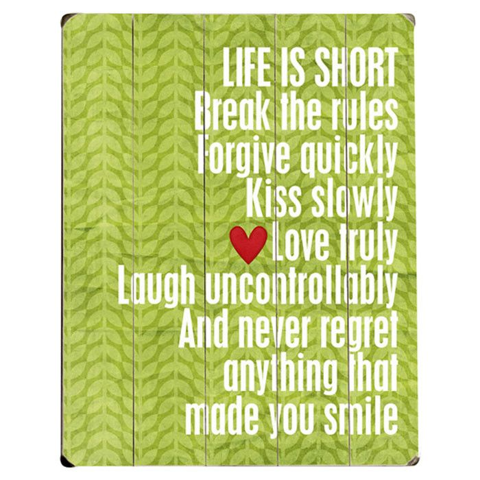 Life Is Short Wall Decor - The Written Word on Joss & Main ...