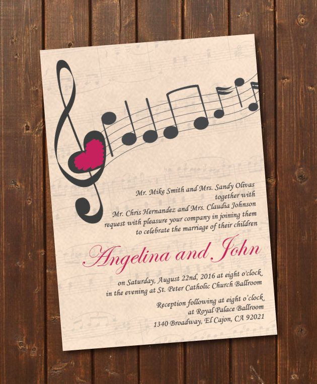 Music Wedding Invitation Printable Template Vintage E Card