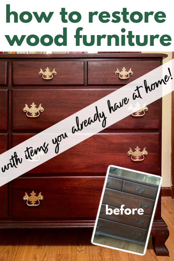 Restore old furniture without sanding or stripping with two things you've already got in your house. #furnituremakeover #woodfurniture #restorewoodfurniture #furnitureflip #diy #diytip #cleaningtip #cleaning #cleaninghack #woodfurniture #stainedfurniture