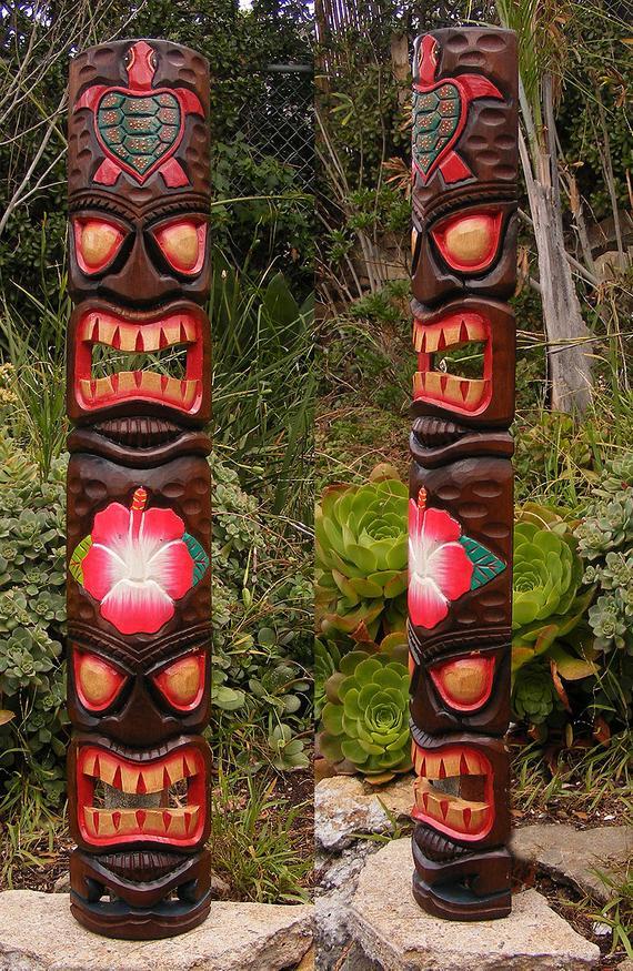 Tiki Bar Cocktail Aloha Hawaii Flower Mask Metal Wall Sign Plaque