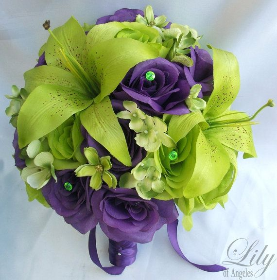 Purple And Green Purple Wedding Bouquets Purple Green Wedding