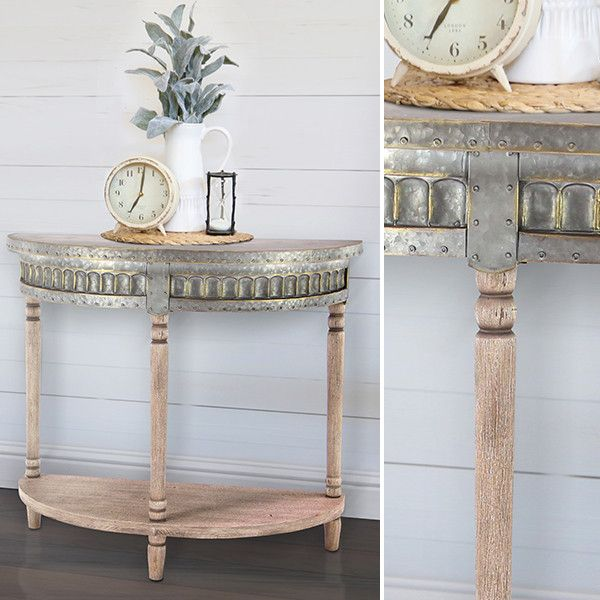 Wonderful Our Vintage Wood And Metal Half Moon Console Table Is Truly A Unique Piece.  This Table Is Great For The Entryway Or Any Empty Space In The House Paired  With ...