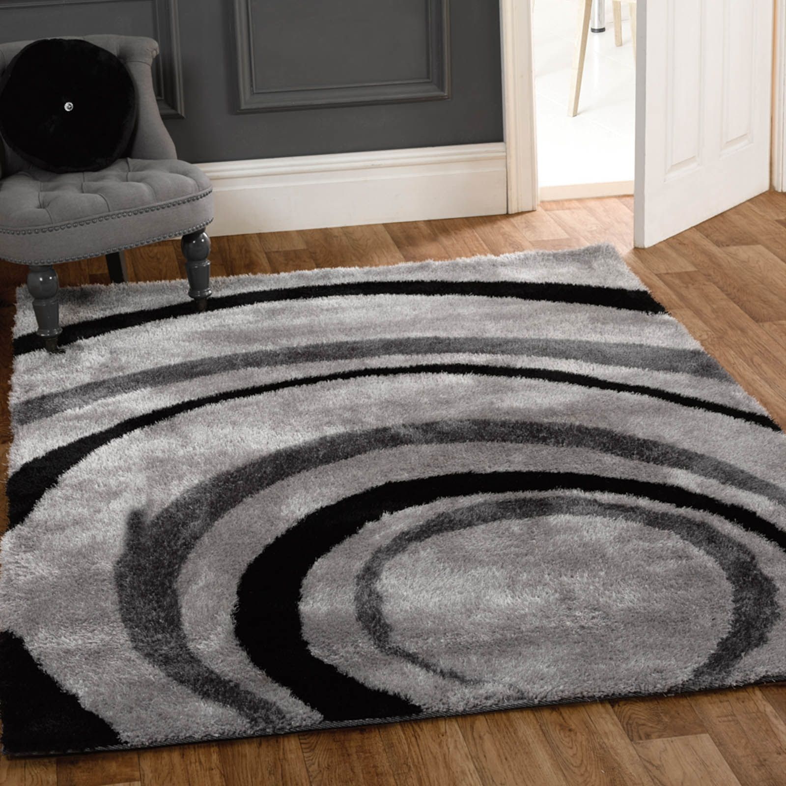 Grande Vista Droplet Rugs In Black And Grey Gy