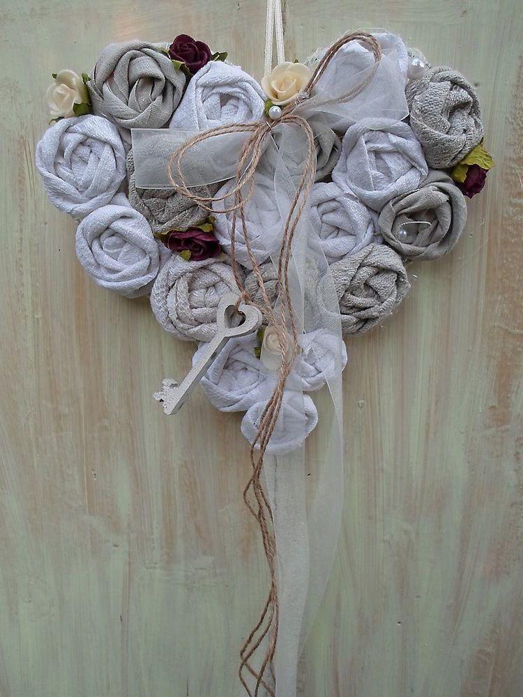 Shabby Turkranz Sisal Herz Vintage Leinen Stoff Rosen Handarbeit Cuore Ghirlande Ricamo