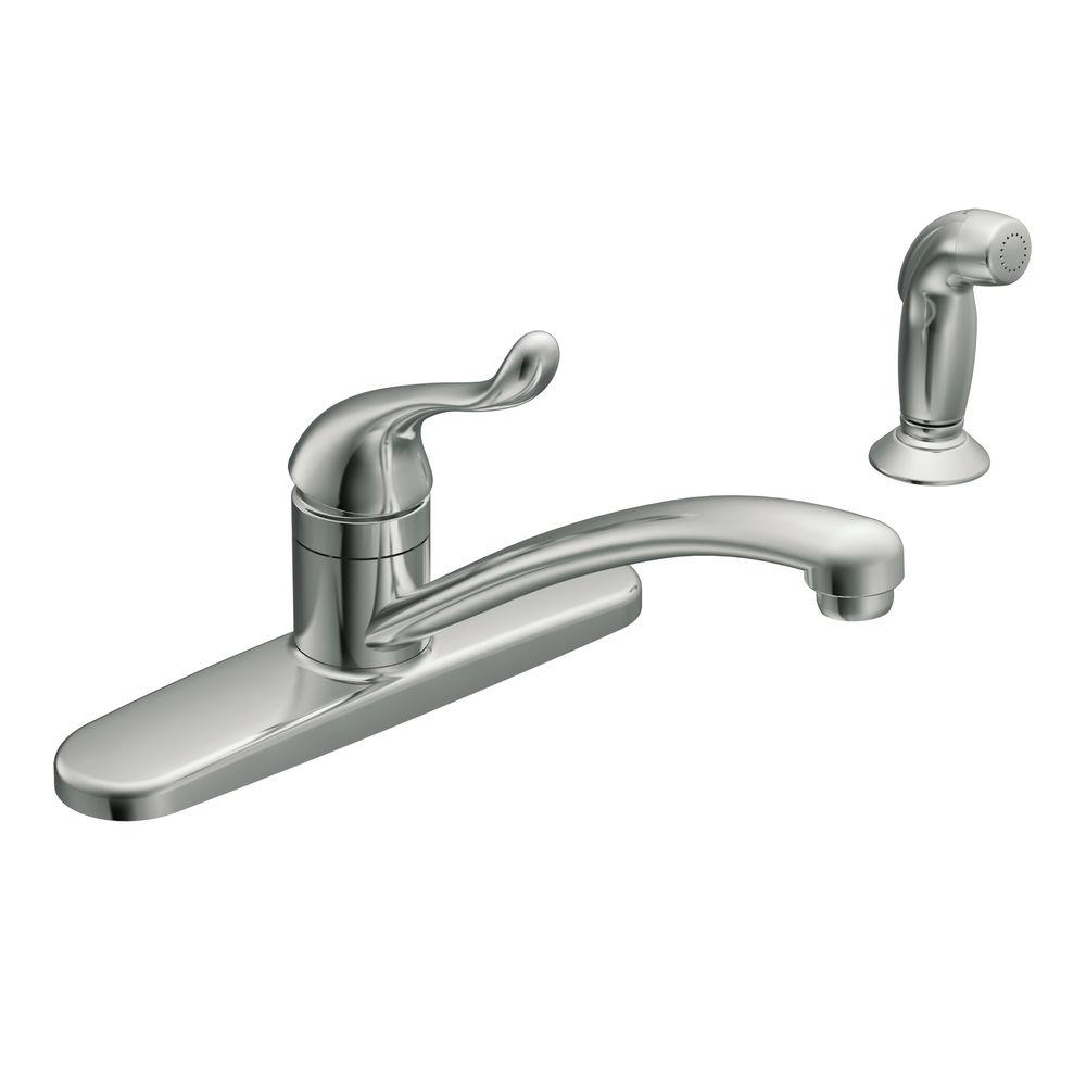 Moen Adler Single Handle Low Arc Standard Kitchen Faucet With Side