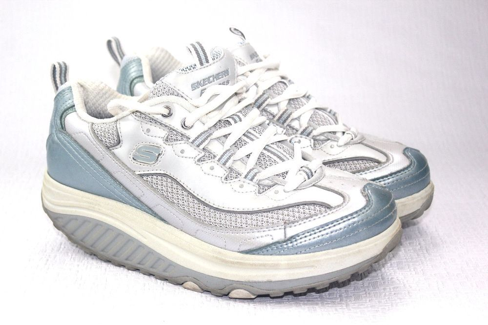 Skechers Shape Ups Size 11 M Light Blue Lace Up Fitness Sneakers Shoes For Women