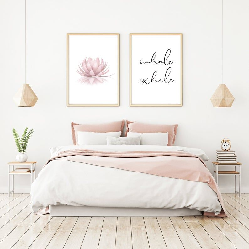 Set Of 2 Pink Lotus Flower Inhale Exhale Sign Womens Bedroom Calligraphy Printable Above Bed Decor Zen Wall Art Lotus Flower Poster Bedroom Prints Wall Decor Bedroom Master Bedroom Wall Art