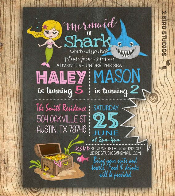 Mermaid shark sibling invitation dual birthday invitation girl mermaid shark sibling invitation dual birthday by 2birdstudios filmwisefo