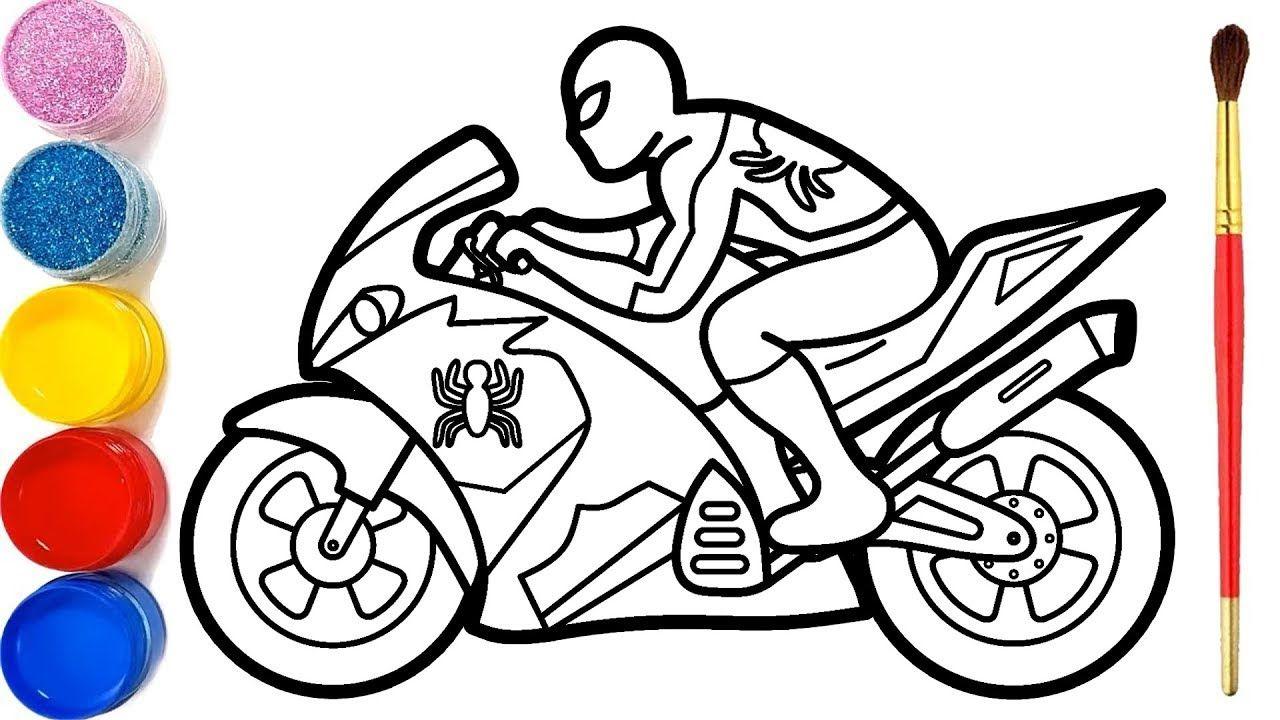 Cara Menggambar Dan Mewarnai Spiderman Naik Motor Glitter Spiderman Riding A Motorcycle Coloring Youtube In 2021 Coloring Pages Spiderman Coloring Pages For Kids