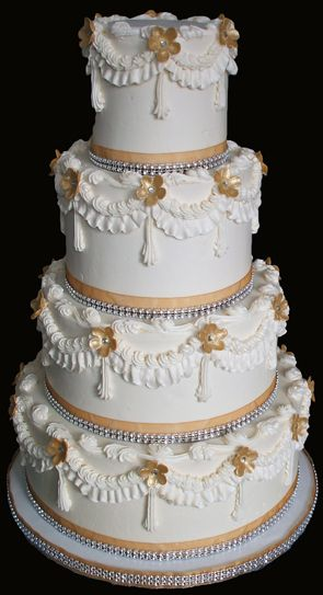 gold bling for wedding cakes 4 tier buttercream 50th wedding anniversary cake decorated 14746