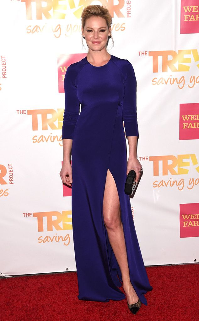 The State of Affairs actress blends regal and racy with this slit royal blue gown at TrevorLive in LA.