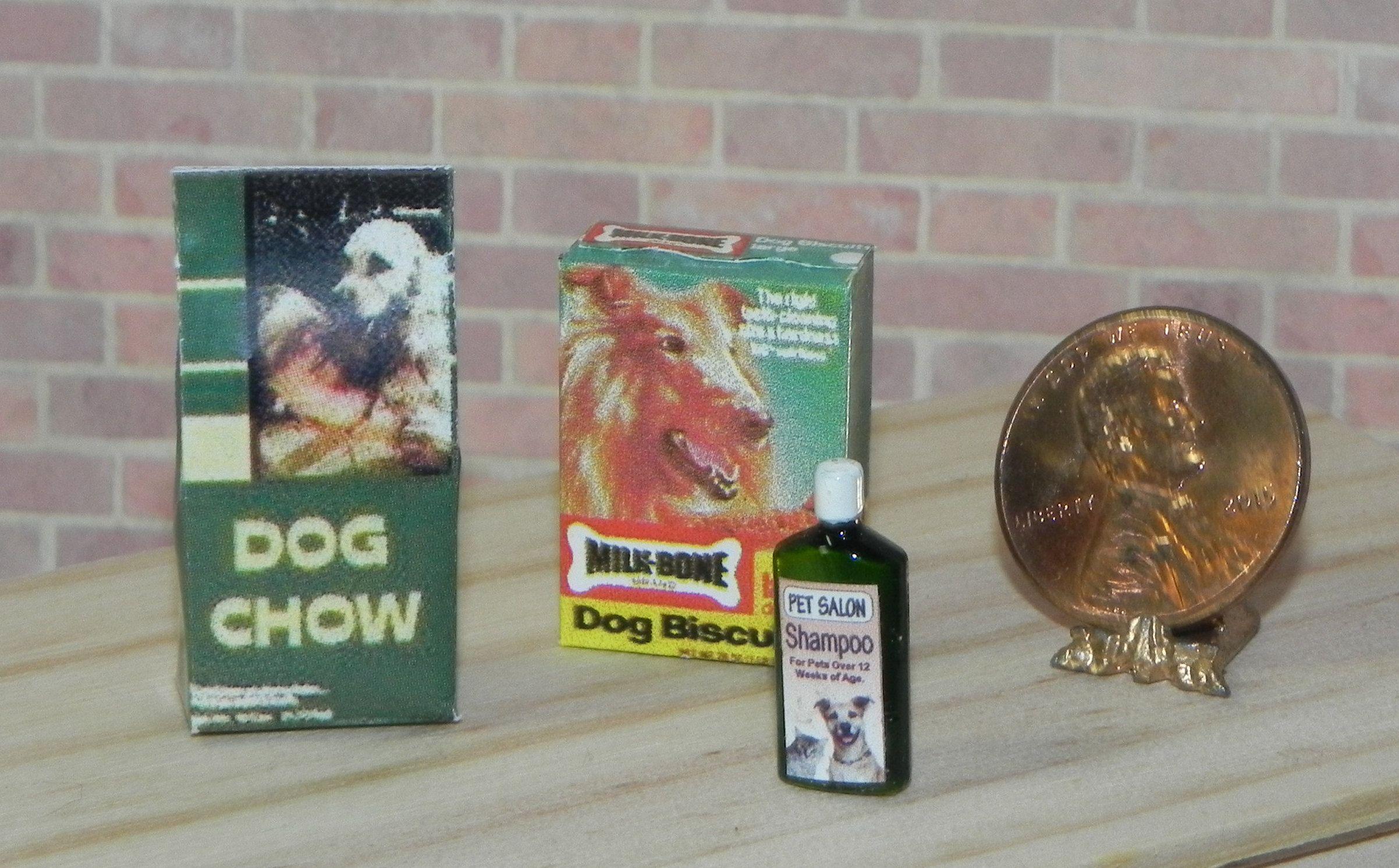Dollhouse Miniature Dog Food Dog Biscuits And Shampoo Set 1 12 Scale