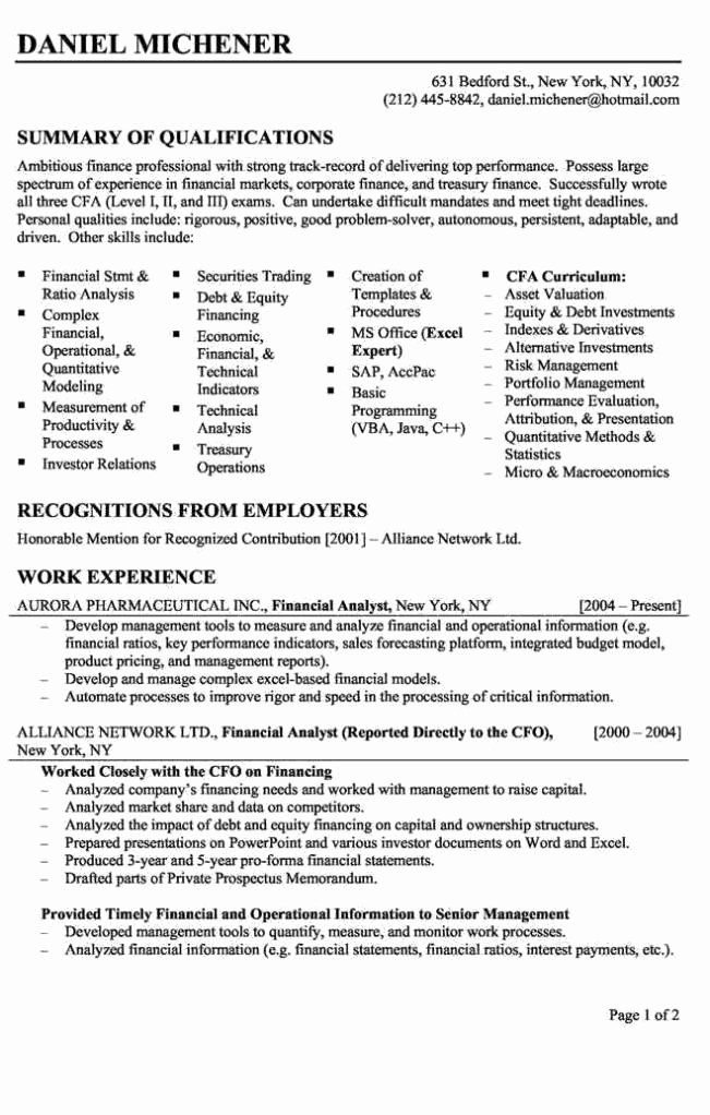 20 Entry Level Financial Analyst Resume in 2020 Business