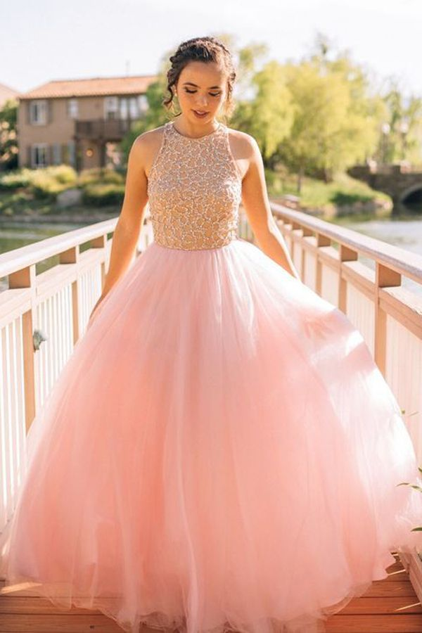 Dramatic Round Neck Sleeveless Floor-Length Pink Prom Dress with ...