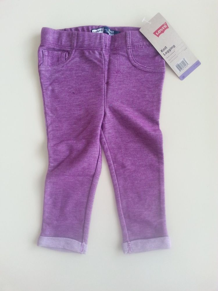 Levi's Infant Girl Knit Leggings PURPLE Size 18M  NWT RP $20 color denim look #Levis #Leggings