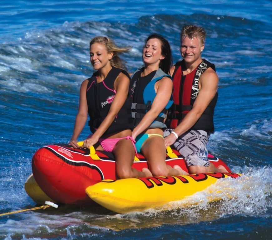 Towable Water Tube New 3 Person Inflatable Hot Dog Boat Jet Ski Rider Float Towable Tubes Inflatable Boat Hot Dogs