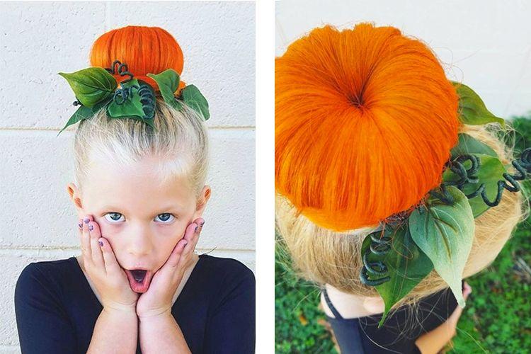 Halloween pumpkin bun #halloweenhair #halloweenhairstyles #halloweenforkids #scaryhair #crazyhairdayatschoolforgirlseasy