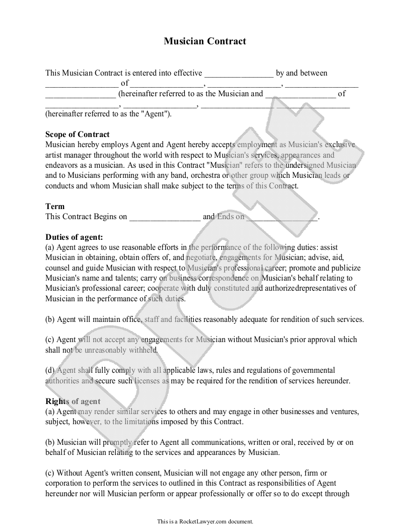 Musician Contract  Music Agent Contract Template With Sample