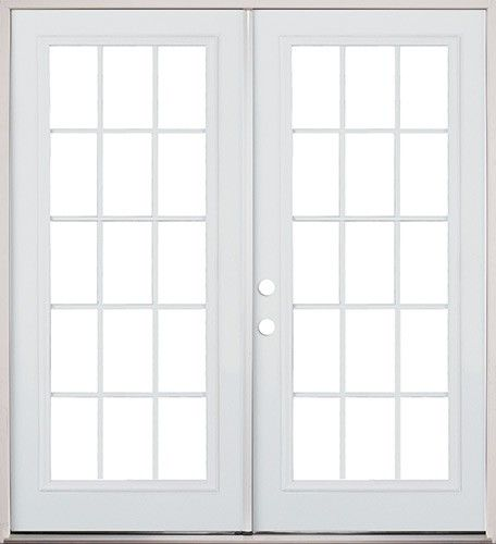 6 0 15 lite steel patio prehung double door classic patio for Double hung exterior french doors