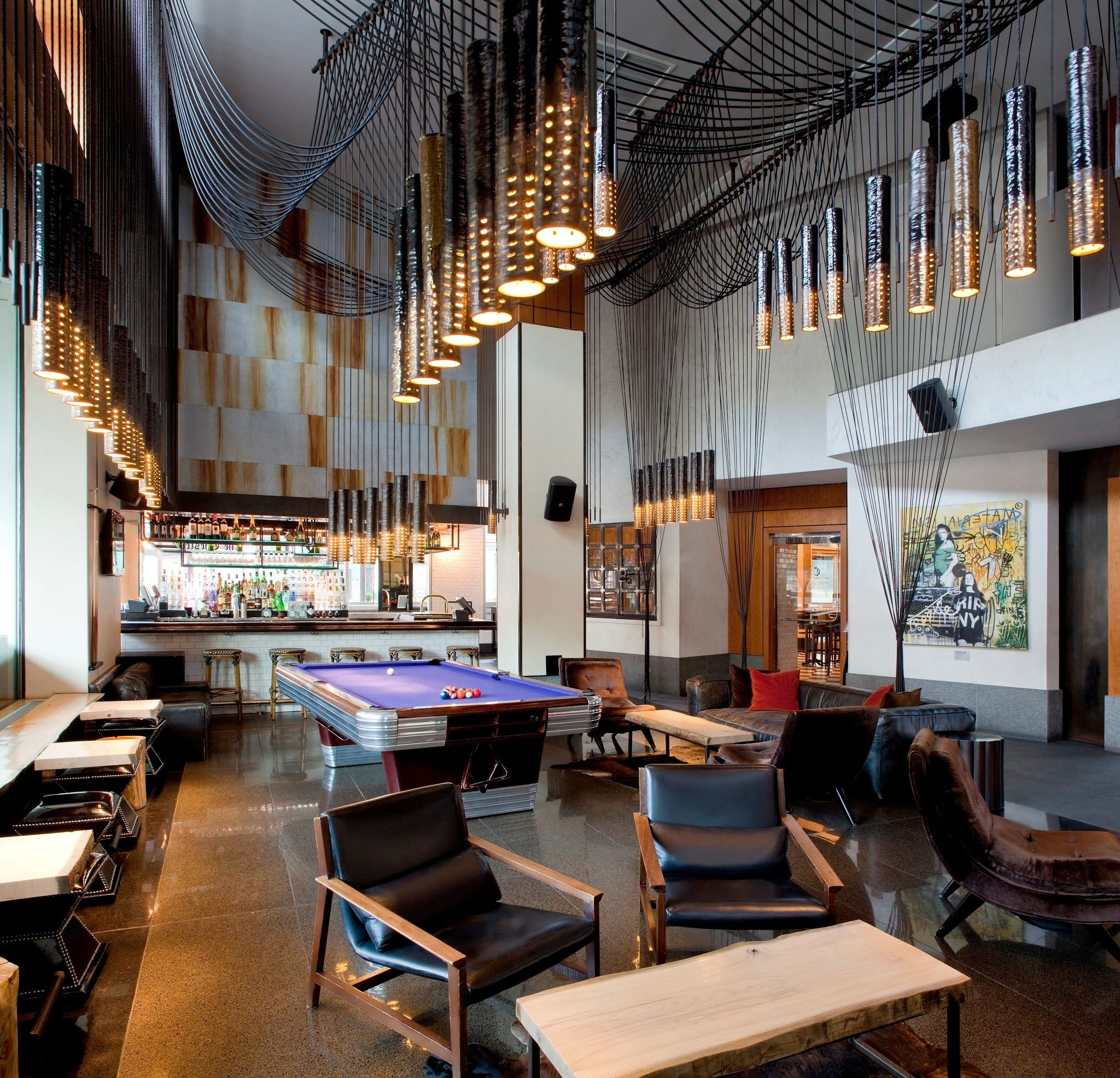 Living Room Bar Nyc The Chic Hotel Lobby Complete With A Bar And Pool Table To