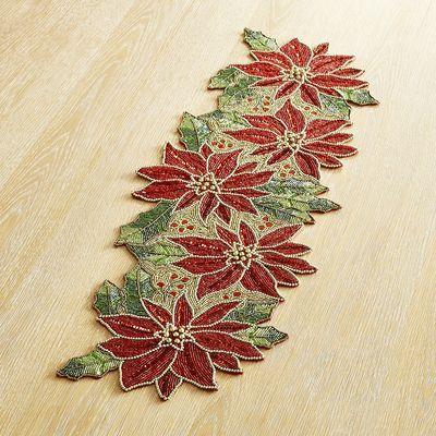 Beaded Poinsettia 36 Table Runner Holiday Table Runner Table Runner Diy Felt Christmas Ornaments