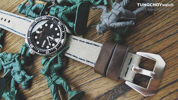 22mm MiLTAT Military Grey Leather Washed Canvas Ammo Watch Strap in Blue Stitches  #seiko #skx007 #Seikodiver #watchband #watchstrap #men #menfashion #military